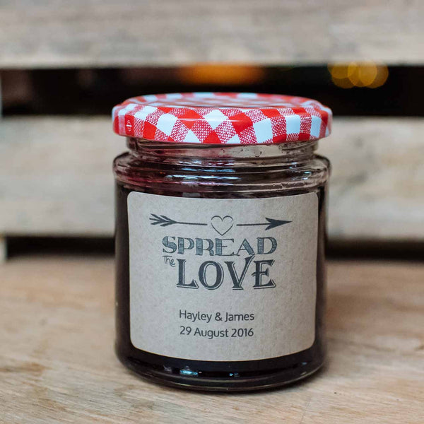 spread the love wedding jam labels personalised stickers jam favours chutney favours