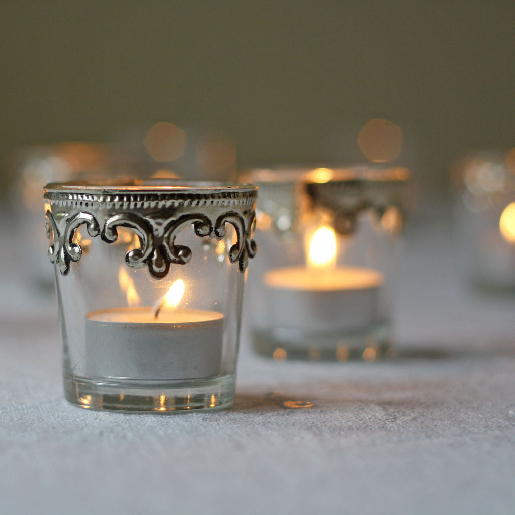 Stylish Silver and Glass Tea Light Holders - Set Of 2 ...