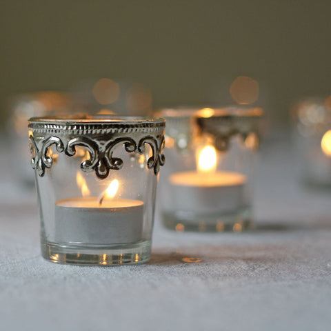 Stylish Silver and Glass Votive - Set Of 2