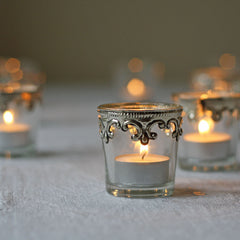 simple glass silver tea light holders wedding decorations
