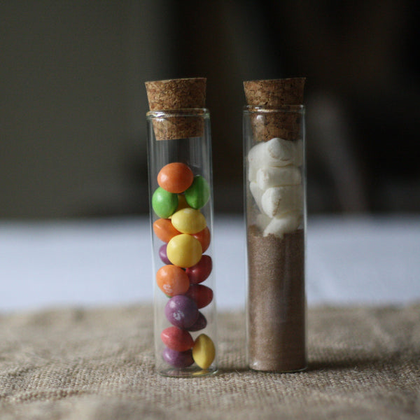 Test Tube Wedding Favour With Cork Stopper - sweets or hot chocolate mix