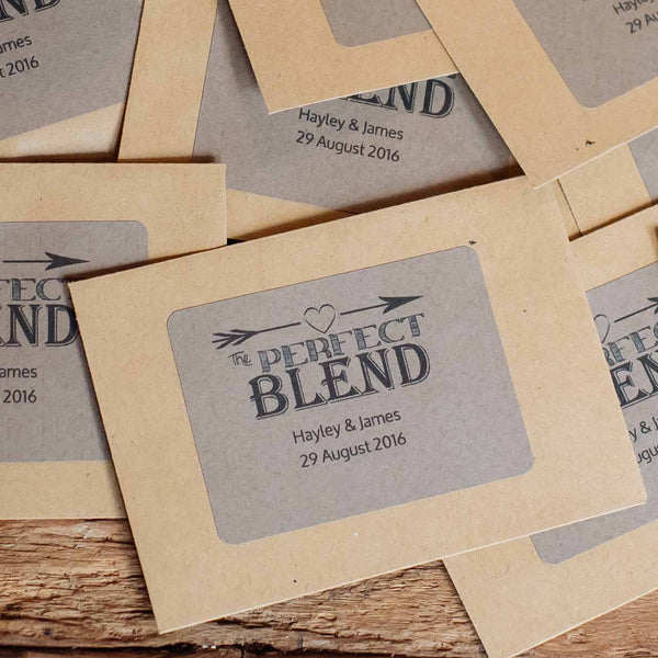 The Perfect Blend Wedding Favour Stickers (personalised) - Sheet of 18