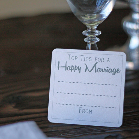 Top Tips For A Happy Marriage Rustic - Set Of 10
