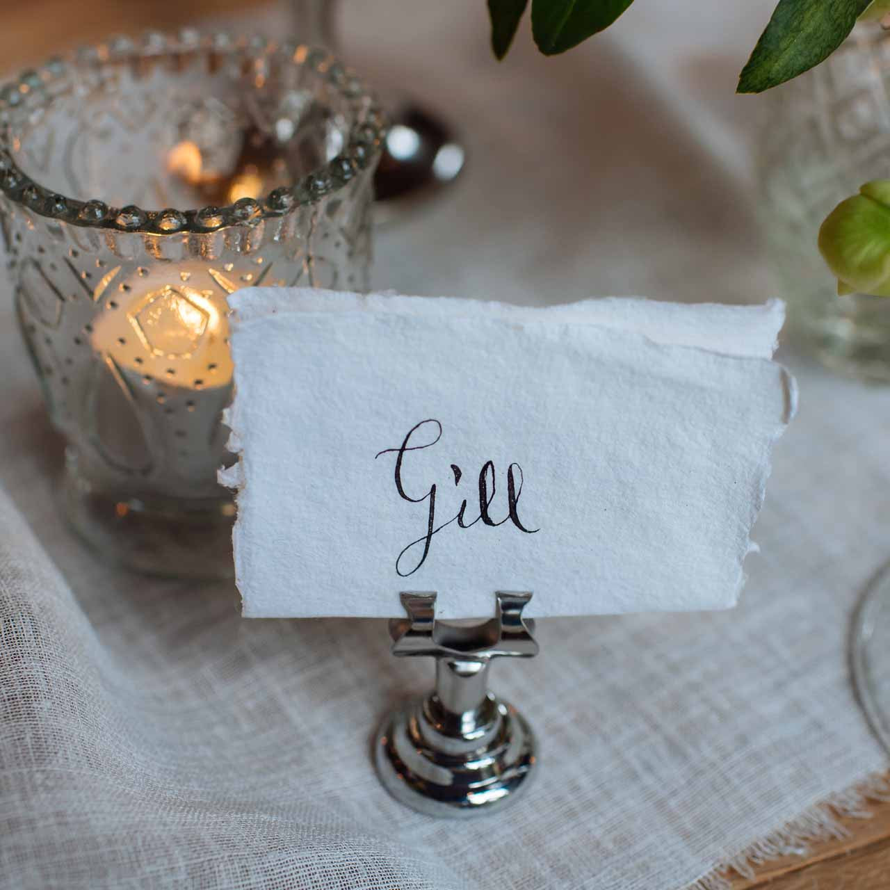 small silver name card table number holders u2013 set of 4