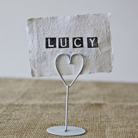 White Heart Place Card Holder - Set Of 8