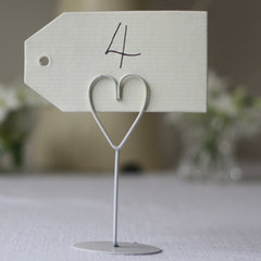 white heart place card holders