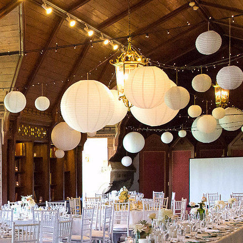 White Paper Lanterns Hanging Decorations For Weddings