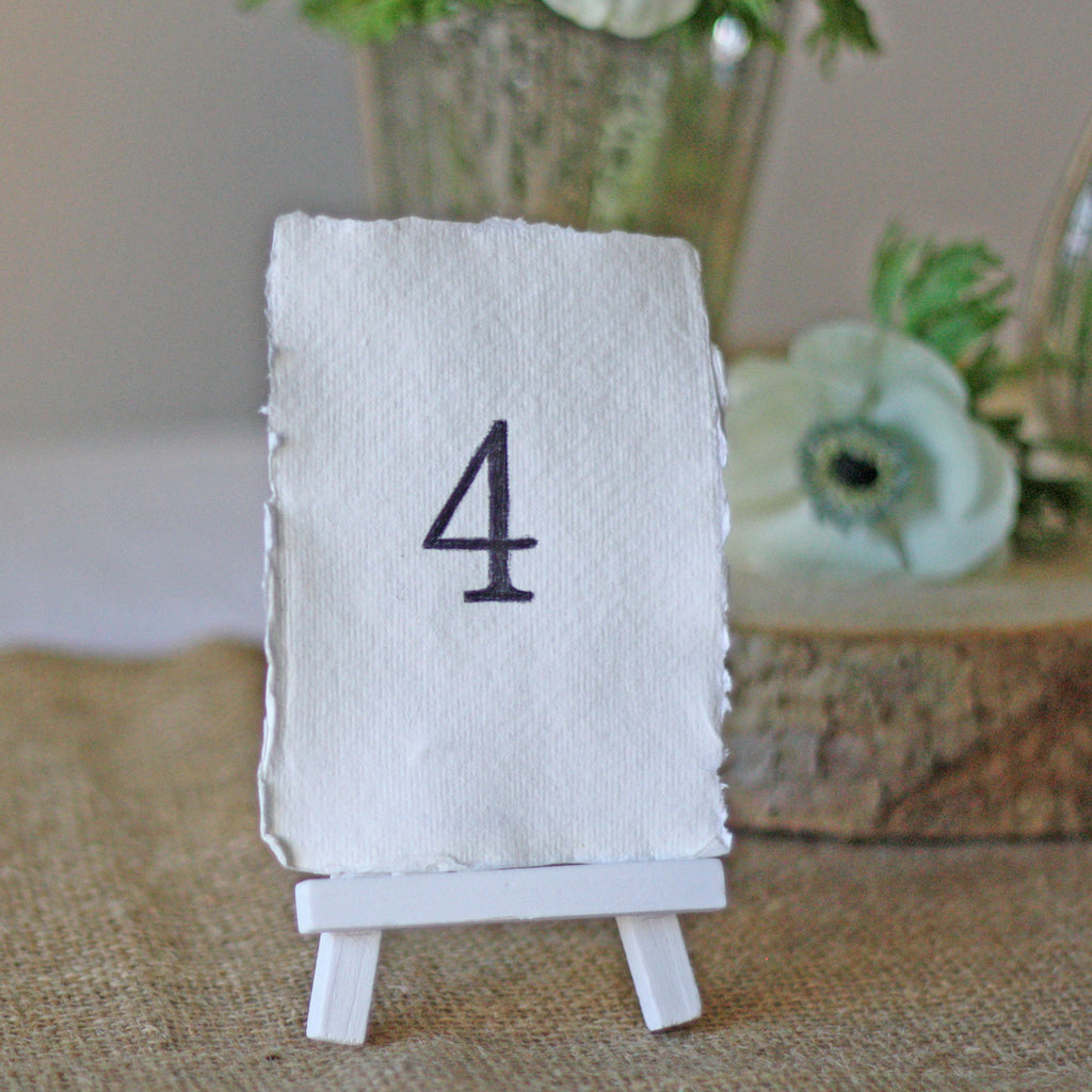 Mini White Wooden Easel Wedding Table Numbers The