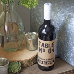 Wine Bottle Table Numbers Personalised