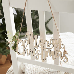 Wooden Merry Christmas Hanging Signs - Pack of 4