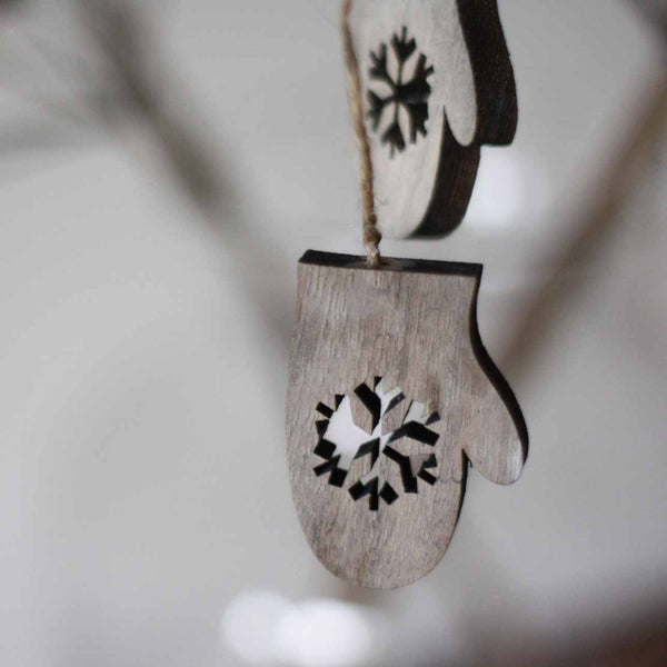 Wooden Mittens Hanging Christmas Tree Decorations
