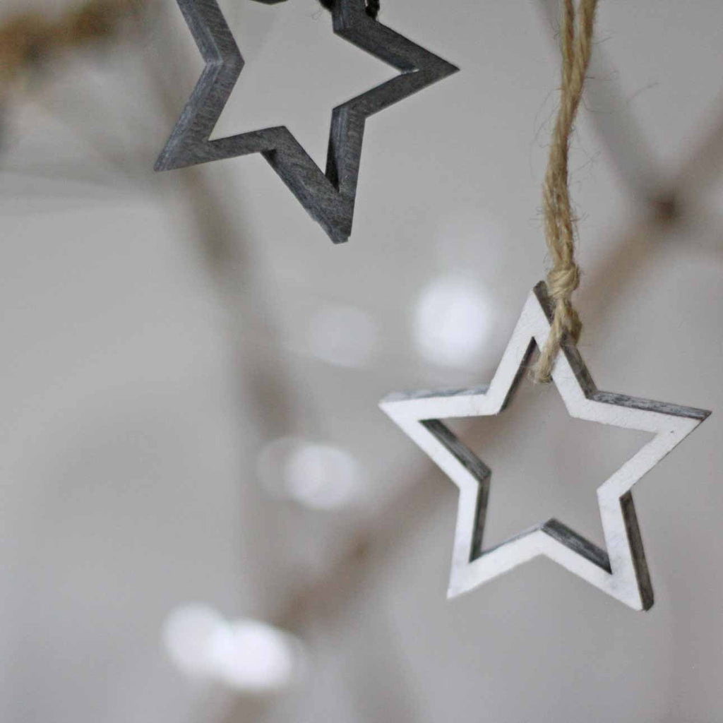 Winter wedding favours wooden stars christmas tree decorations