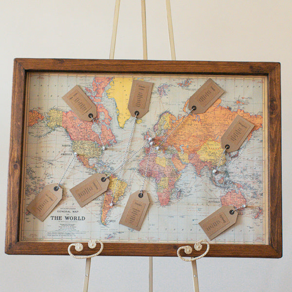 World map wedding table plan the wedding of my dreams for Mini tin mailboxes for crafts