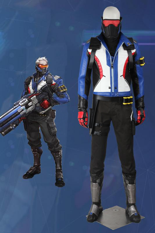 Overwatch OW Soldier 76 John Jack Morrison Cosplay Costume With Boots