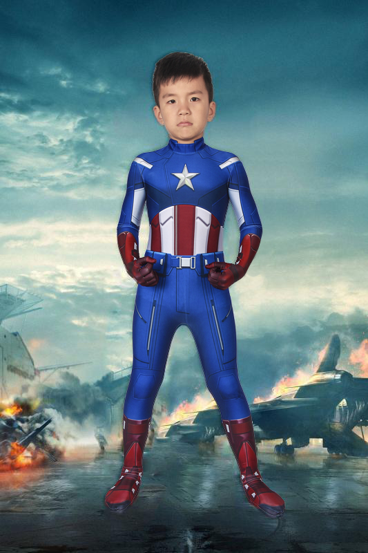The Avengers 1 Captain America Steven Rogers Jumpsuit For Kids