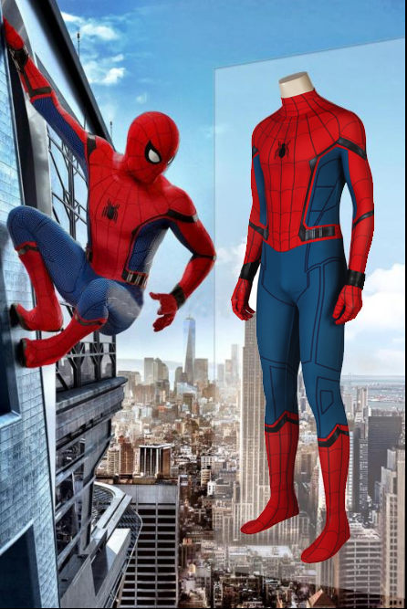 New Spiderman: Homecoming Peter Benjamin Parker Cosplay Costume Jumpsuits With Mask And Wrister