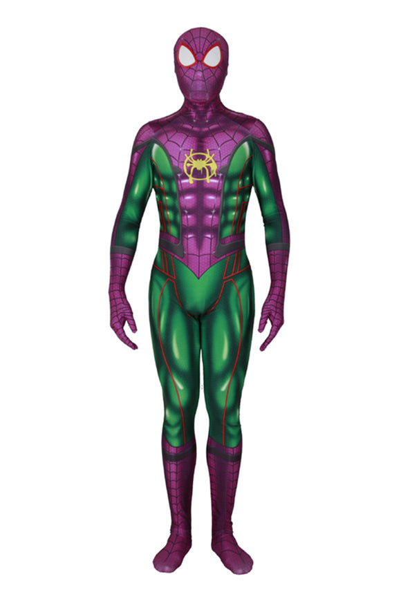 Green Spiderman Jumpsuit Miles Morales Cosplay Costume