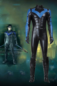 DC Batman Arkham City Nightwing Cosplay Costume Jumpsuit With Eye Mask