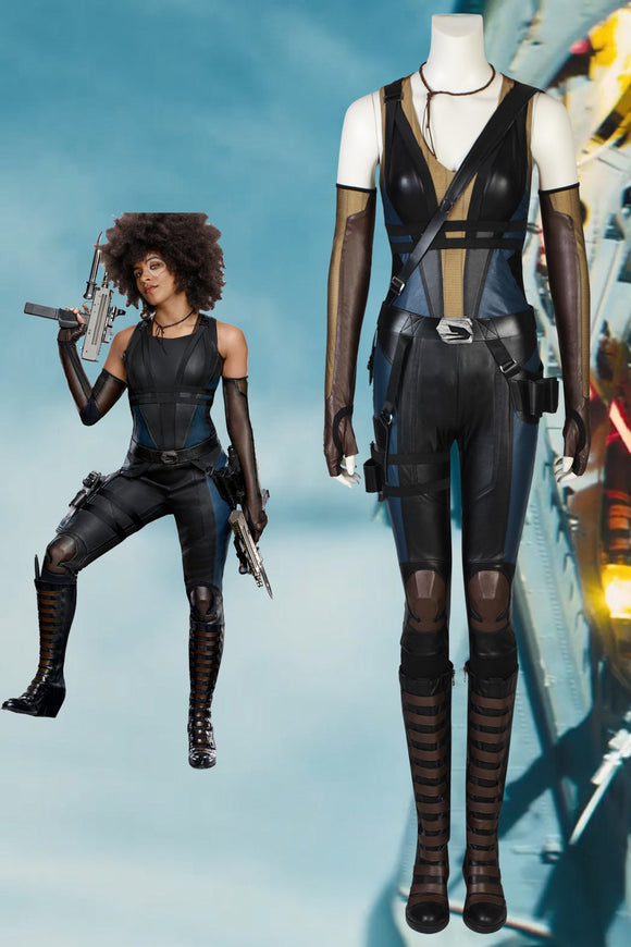 Deadpool 2 Neena Thurman Domino Cosplay Costume With Boots