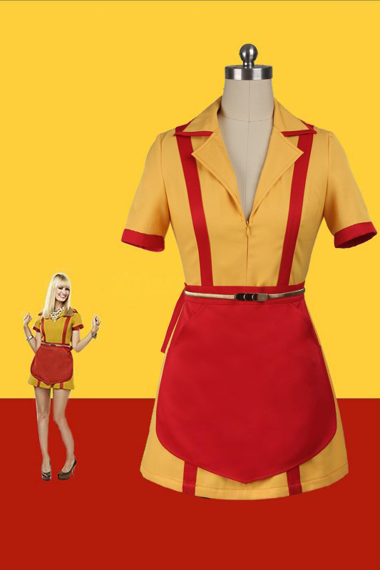 TV Show 2 Broke Girls Caroline Channing Costume Cosplay Waitress Uniform