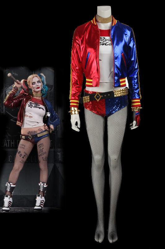 DC Batman Suicide Squad Task Force X Harley Quinn Cosplay Costume