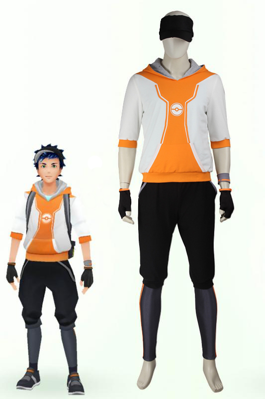 Pokemon Go Orange Team Valor Mystic Instinct Trainer Cosplay Costume For Men With Hat