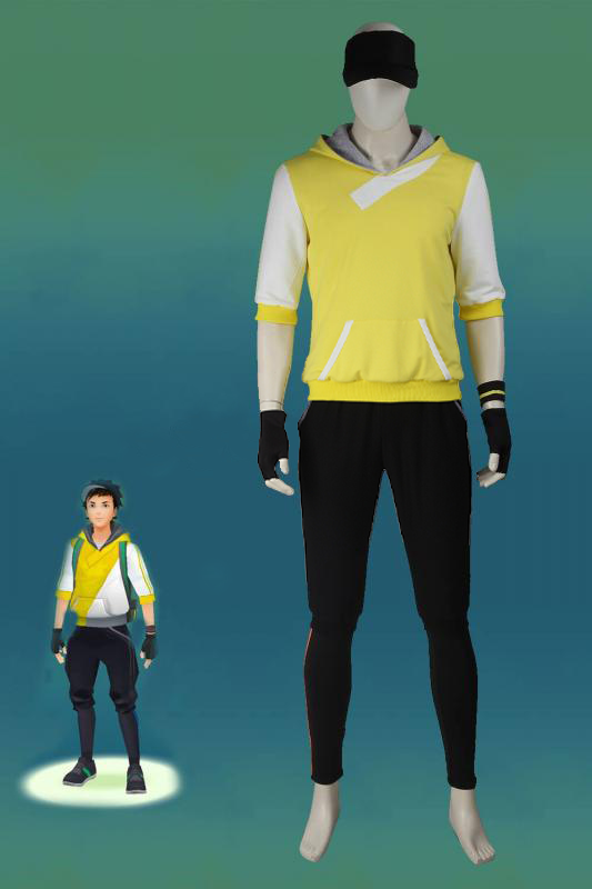 Pokemon Go Yellow Team Valor Mystic Instinct Trainer Cosplay Costume For Men With Hat