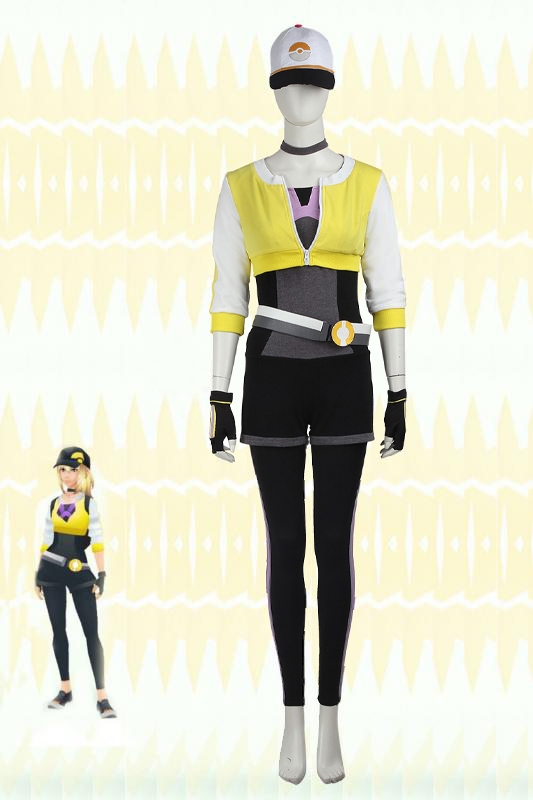 Pokemon Go Yellow Team Trainer Uniform Cosplay Costume For Women With Hat