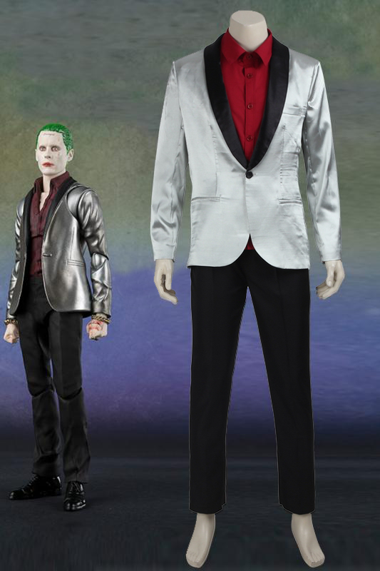 Suicide Squad Joker Cospaly Costume Jared Leto Silver Suits