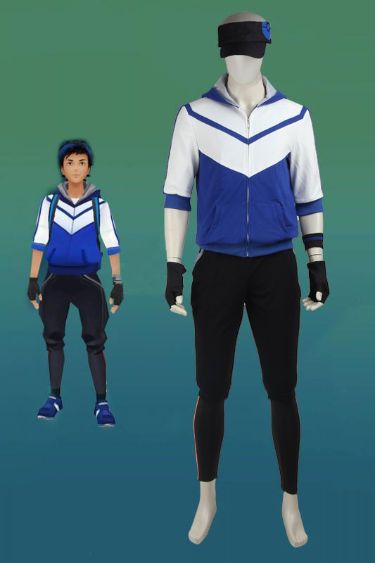 Pokemon Go Blue Team Valor Mystic Instinct Trainer Cosplay Costume For Men With Hat