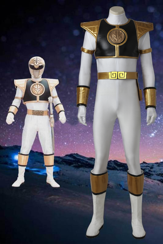 Mighty Morphin Power Rangers Tommy Oliver White Power Ranger Cosplay Costume With Boots