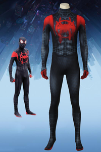 Spiderman: Into The Spider-Verse Miles Morales Cosplay Costume Jumpsuit