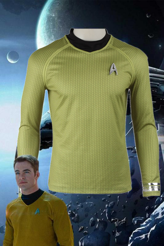 Star Trek Into Darkness James Tiberius Kirk Hikaru Sulu Yellow Top Cosplay Costume