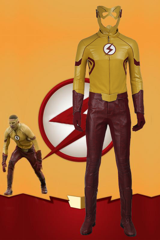 DC TV The Flash Season 3 Kid Flash Wallace Rudolph Wally West Cosplay Costume With Boots