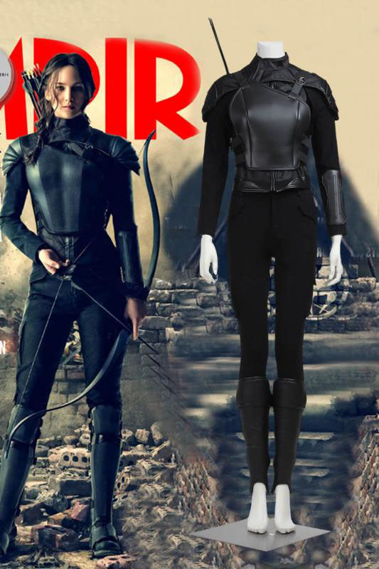 The Hunger Games Mocking Jay Part 1 Katniss Everdeen Cosplay Costume Black