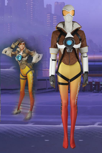 Game Overwatch OW Tracer Lena Oxton Yellow Cosplay Costume