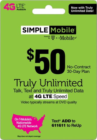 Simple Mobile - $50 Prepaid Phone Card