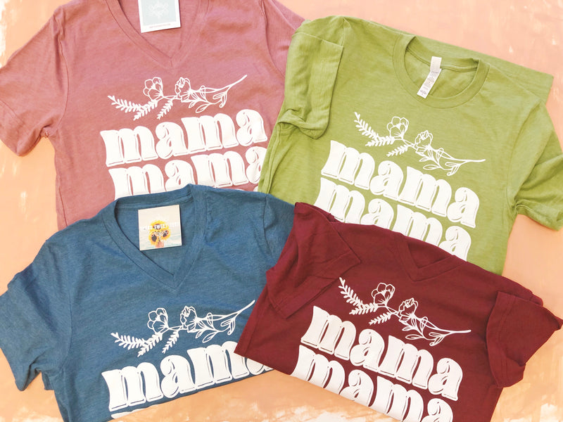 Mama Floral Tee (teal blue) - Sweet Tees + happy things