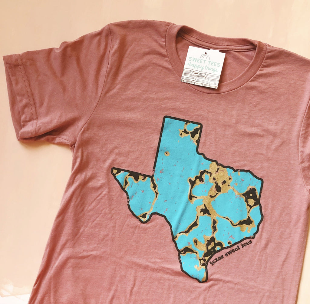 Turquoise Texas Tee (Dusty Rose)