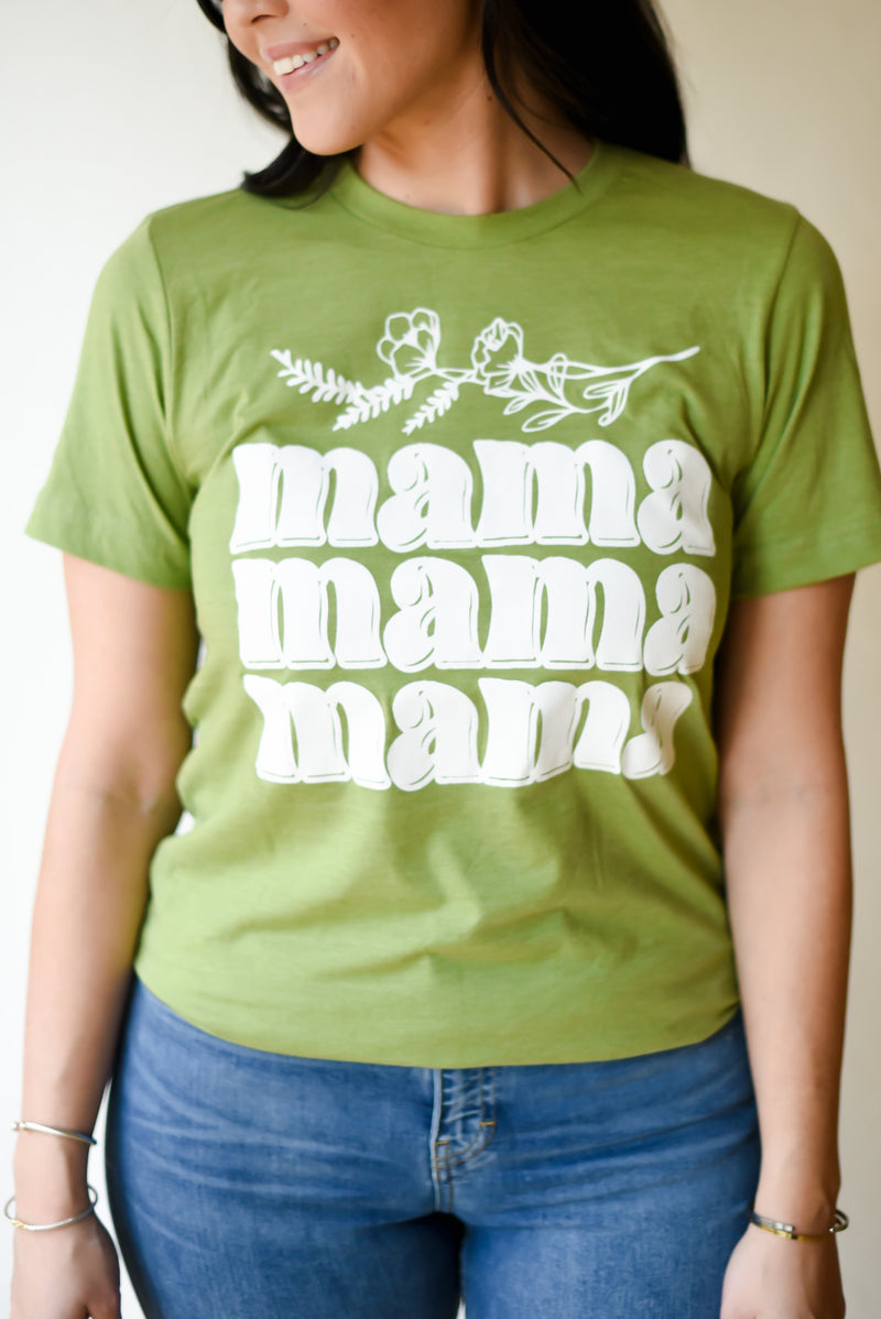 Mama Floral Tee (spring green)