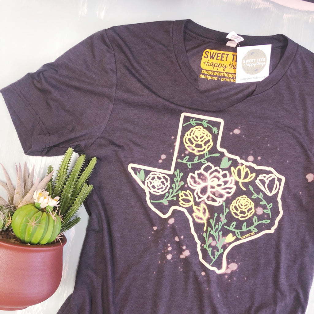 Spanish Flower Distressed Tee - Sweet Tees + happy things