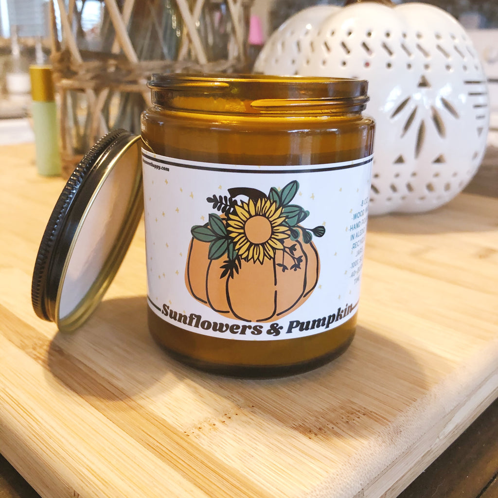 Sunflowers and Pumpkin Candle