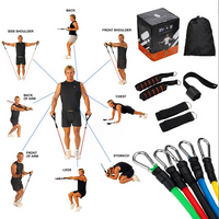 11 Piece Set Fitness Resistance Bands For Home Gym Training/Yoga