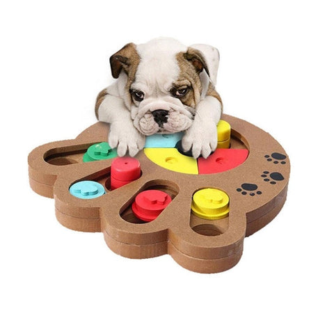 1 Pcs Dogs Puzzle Toys Bones Paw Prints Wooden Fun Feeding Toys