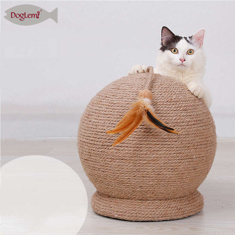 Large Cat Scratch Board Ball Toy Round Sisal Ball Cat Claw Sharpener