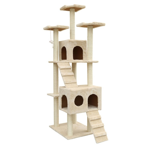 "72"" Multi-Level Cat Tree with Sisal-Covered Scratcher Slope, Scratching Posts"