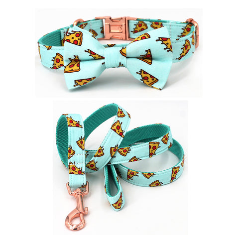 Popular Pizza Pattern dog collar and leash with bow tie for big and small dog