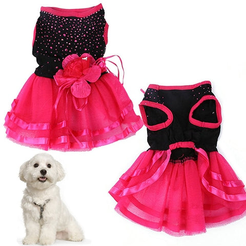 New arrival  Pet Dog Rose Flower Gauze Tutu Dress
