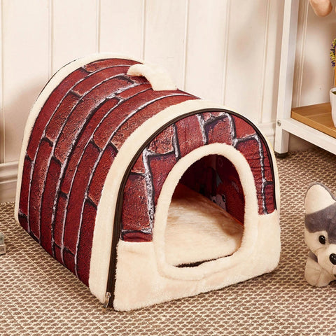 Pet Dog Cat Bed House Warm Soft Mat Bedding Igloo
