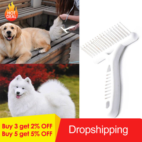 Pet Dog Rake Comb Brush Short Long Thick Hair Fur Shedding